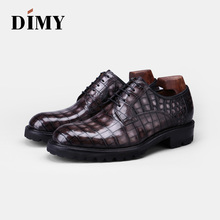 DIMY 2019 mens shoes new crocodile British business breathable comfortable leather