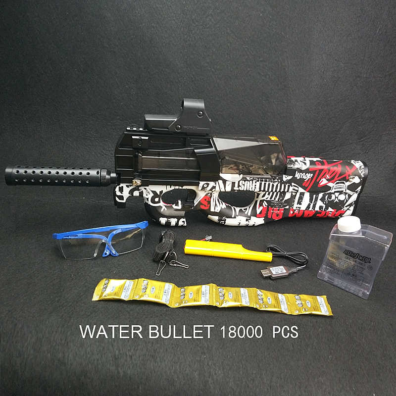 Nieuwe Graffiti Edition Elektrische Speelgoed PISTOOL Water Kogel Uitbarstingen Gun Live CS Assault Watersnip Wapen Outdoor Pistool Speelgoed P90