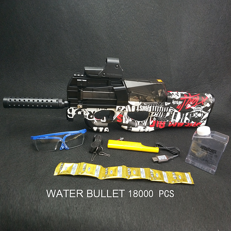 New Graffiti Edition Electric Toy GUN Water Bullet Bursts Gun Live CS Assault Snipe Weapon Outdoor Pistol Toys P90  New Graffiti Edition Electric Toy GUN Water Bullet Bursts Gun Live CS Assault Snipe Weapon Outdoor Pistol Toys P90