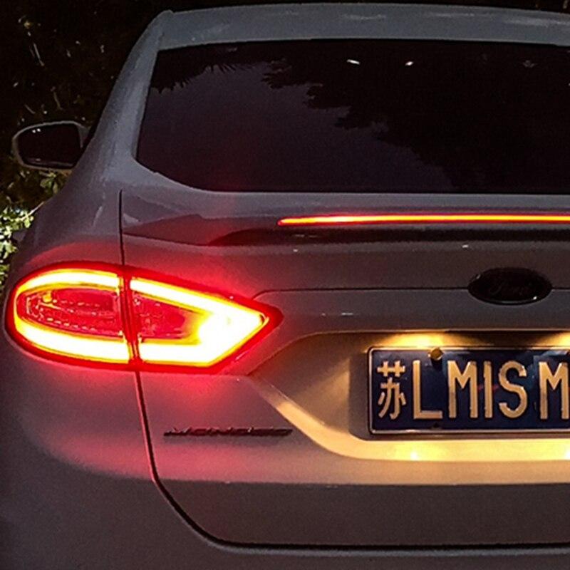 Para Ford Mondeo/fusión decoración del coche 2013, 2014, 2015, 2016, 2017 ABS de plástico pintura Color de LED en el trasero Spoiler - 5