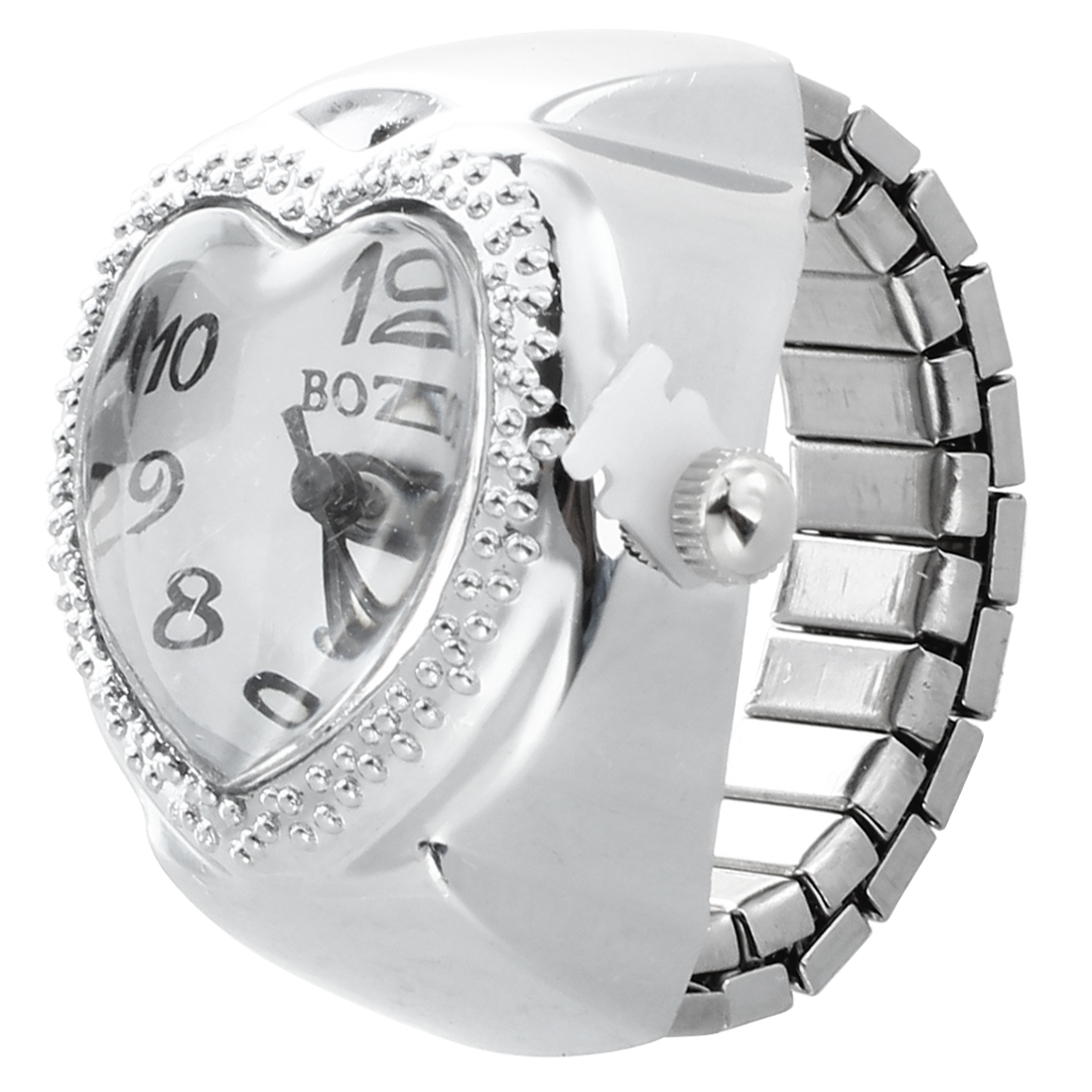Silver Tone Quartz Heart Pocket Finger Ring Watch
