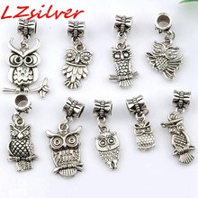 Hot ! 9 pcs Antique silver Alloy Mix Owl Dangle Bead Fit Charm Bracelets DIY Jewelry (nm217)