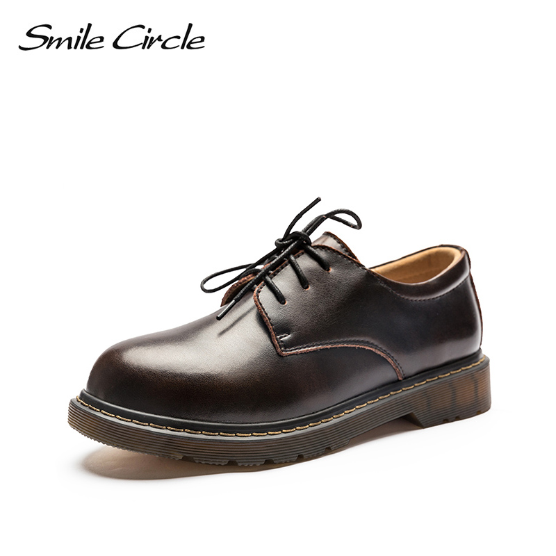 Smile Circle Oxford Genuine Leather Flats Shoes Women Martin platform shoes Autumn Comfortable Round Toe casual shoes For Women smile circle 2018 new genuine leather sneakers women lace up flats shoes women casual shoes round toe flats platform shoes c6004