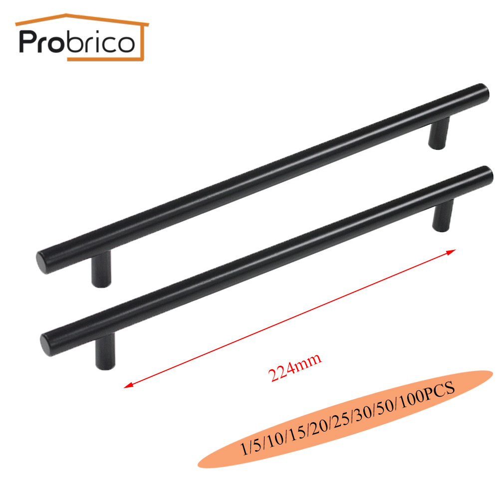 Probrico Black Stainless Steel Kitchen Cabinet T Bar Handle Diameter 12mm Hole to Hole 224mm Furniture Drawer Knob PD3383HBK224 mini stainless steel handle cuticle fork silver