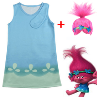 Moana Troll Wig Dresses Set Children Costumes For Girls Carnival Kids Costumes Summer Girl Dress Trolls