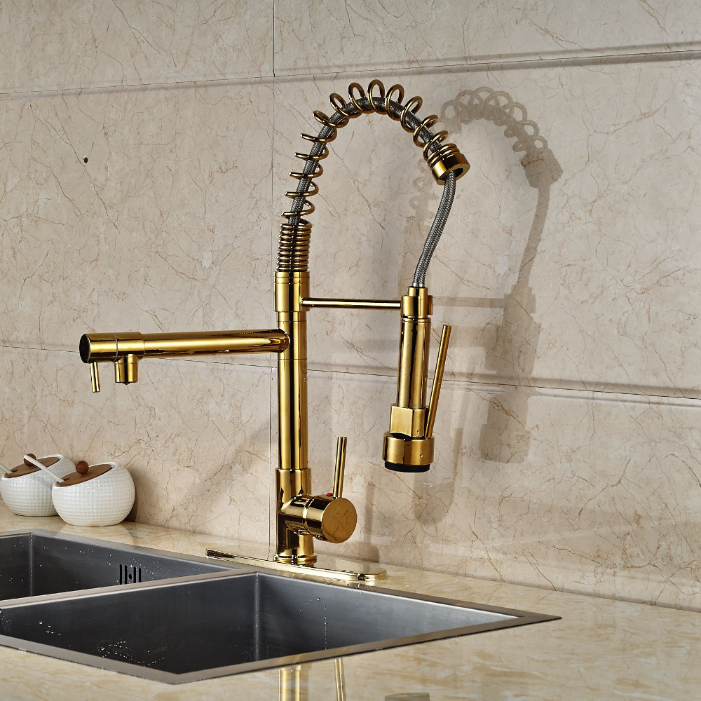 New LED Color Changing Kitchen Faucet Cover Plate Vessel Sink Mixer Tap Gold Finish