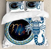 Zodiac Scorpio King Size Duvet Cover Set Circle Shapes Waves Pattern an Ornamental Scorpion Bedding Set Blue Indigo Pale Brown