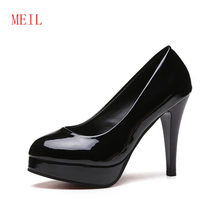 Big Size 42 Elegant Office Women Platform Pumps 10CM Super High Thin Spike Heel Dress Party Pointed Toe Red Patent Leather Pumps karinluna new arrivals big size 31 43 round toe platform women shoes woman elegant spike high heels party office lady pumps