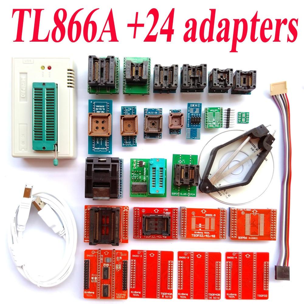 TL866A programmer 24 adapters High speed TL866 AVR PIC Bios 51 MCU Flash EPROM Programmer Russian