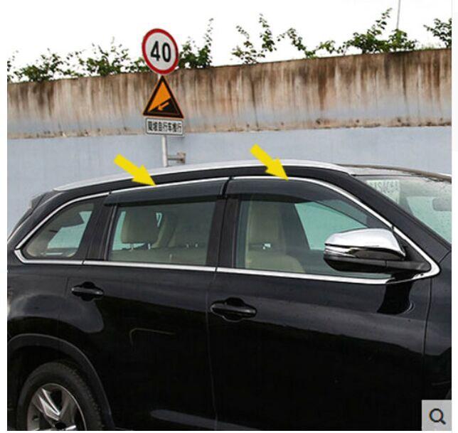ACCESSOIRES FIT POUR TOYOTA HIGHLANDER 2014 2015 2016 KLUGER CÔTÉ FENÊTRE DÉFLECTEURS DE PLUIE GARDE VISIÈRE WEATHERSHIELDS OMBRE dans Chrome Styling de Automobiles et Motos