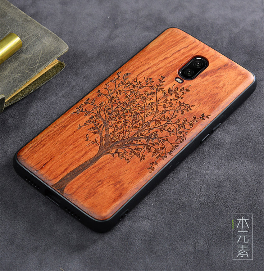 Oneplus 6t Case Boogic Original Real Wood funda Oneplus 6T Rosewood TPU Shockproof Back Cover Phone Shell One plus 6T case (4)