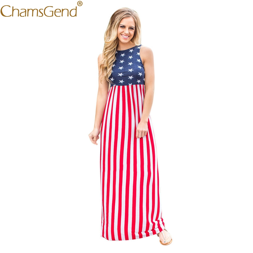 Women USA Flag Print Dress Summer Sleeveless Tunic Maxi Long Beach Party Sundress 80417