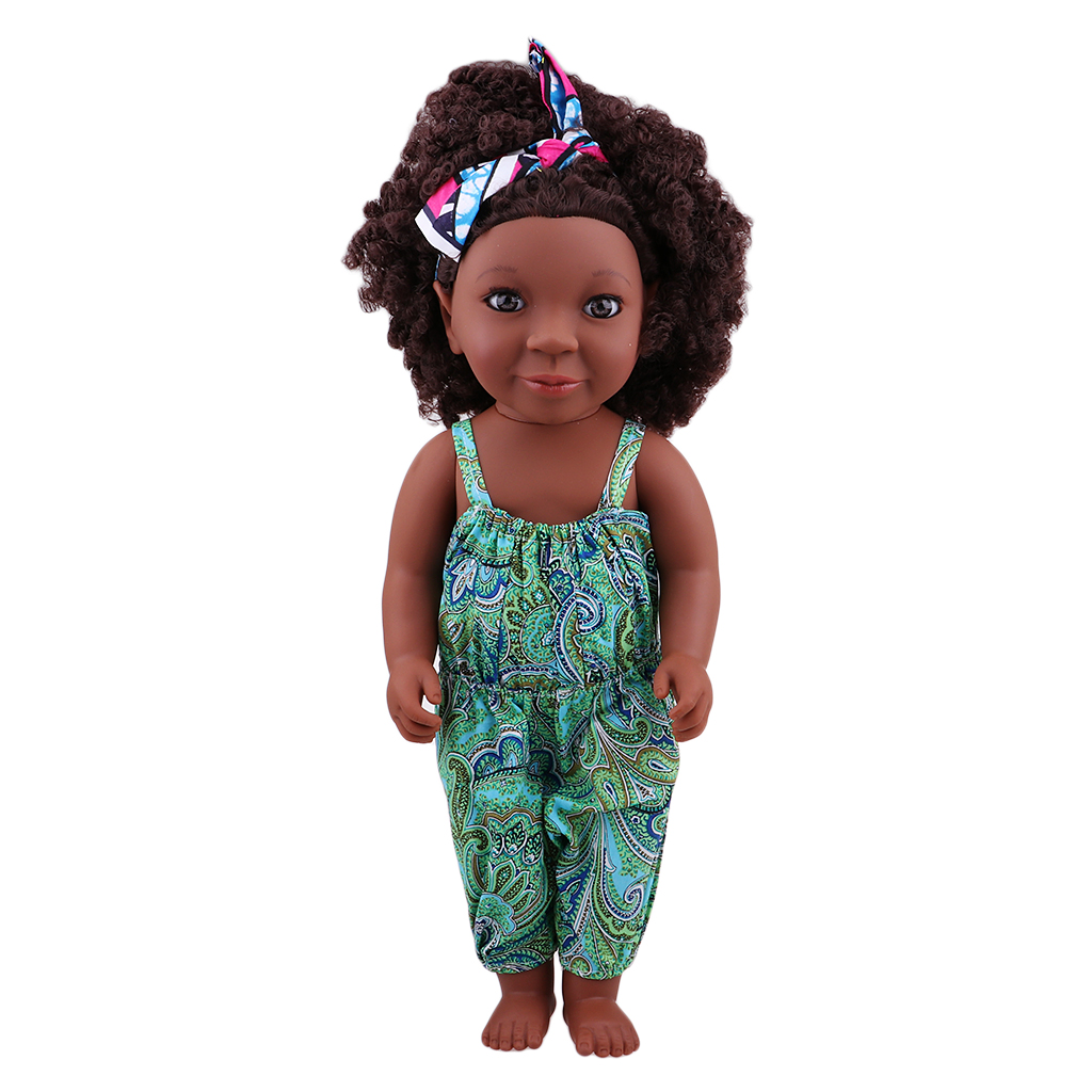45cm Simulation Vinyl Baby Doll African-American Little Girl Doll With Curly Big Hair заколки hello little girl hair accessories
