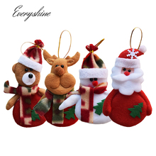 4pcs/lot Christmas Tree Hanging Ornaments Non-woven Craft Santa Claus Snowman Reindeer Bear Pendants Baubles for Xmas Decor DS15