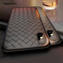 Oppselve Super Soft Case For iPhone X 8 7 Plus Luxury Grid Weaving Samsung S9 S9+ Cover Silicone Accessories Black
