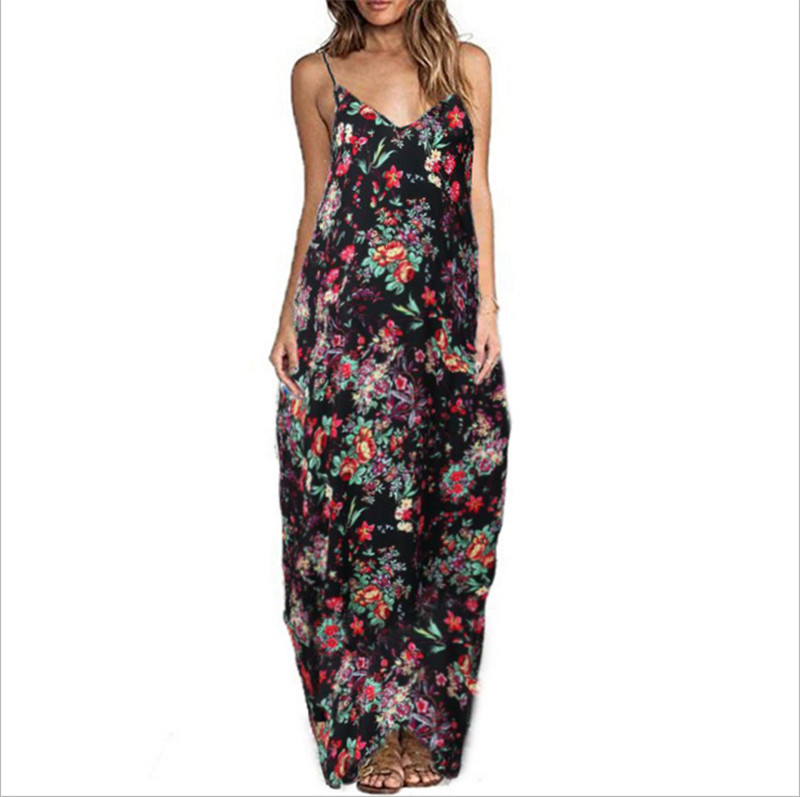 Print Floral Loose Boho Bohemian Beach Dress Women Sexy Strap V-Neck Retro Vintage Long Maxi Dress Summer 2018 Plus Size 3XL 3