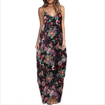 Print Floral Loose Boho Bohemian Beach Dress Women Sexy Strap V-Neck Retro Vintage Long Maxi Dress Summer 2018 Plus Size 3XL 3