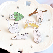 Set Cartoon White Cats Pins