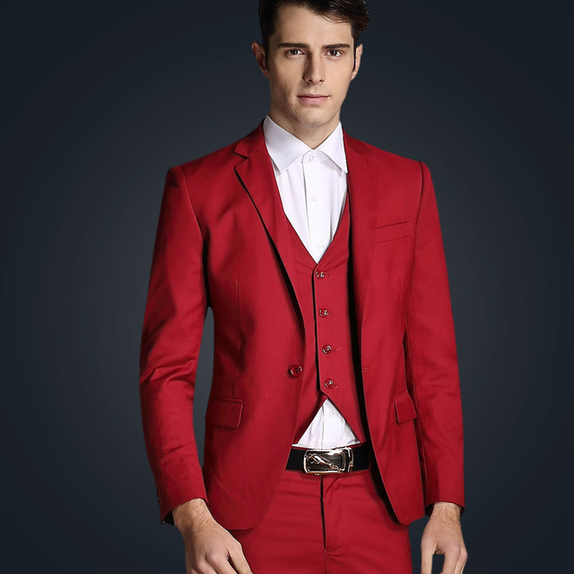 2017 Latest Coat Pant Designs Red Wedding Suit For Men Custom Suits Clic Blazer Slim