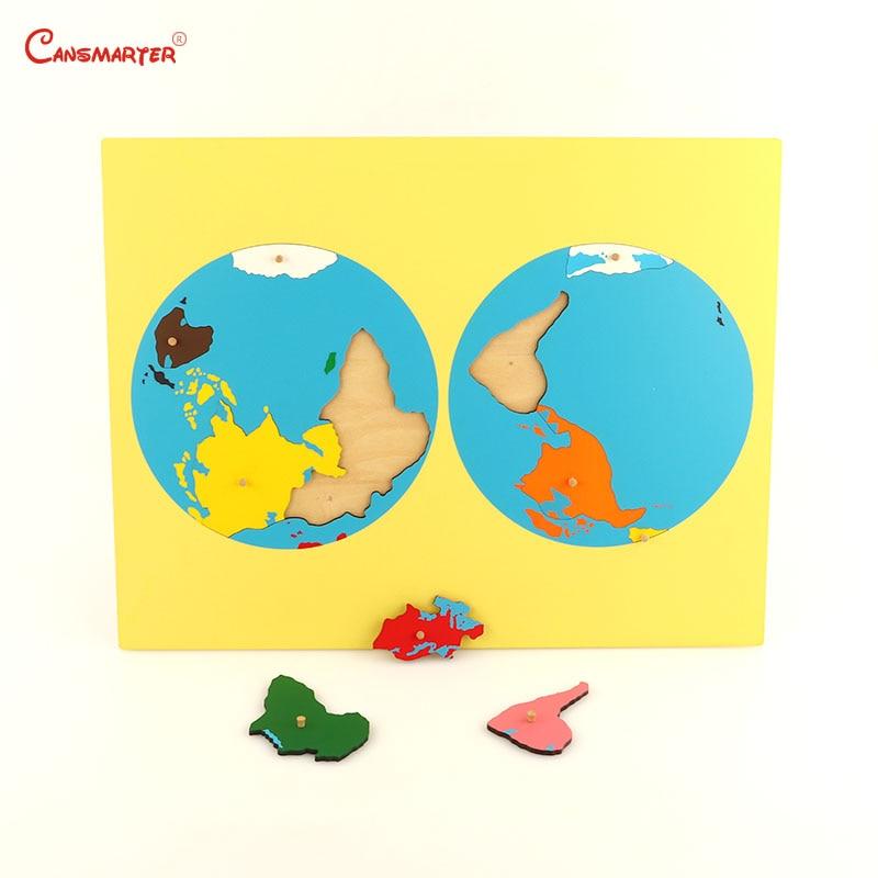 Цветные части пазлов мира Монтессори карты с ручкой игры география детская деревянная доска игрушки Обучающие 3D головоломки GE011 - 3