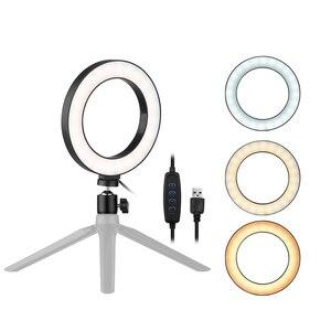 Image 1 - 6 дюймовый светодиодный настольный кольцевой светильник 3200K 5500K, мини лампа освещения для камеры светильник, лампа 3 режима и 10 уровней яркости для макияжа YouTube