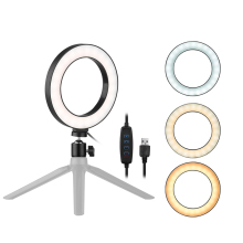 6Inch Desktop LED Ring Light 3200K 5500K Mini Camera Light Lamp 3 Light Modes&10 Brightness Level for YouTube Makeup Photography