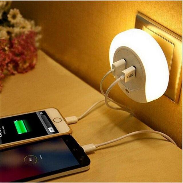 Conception Intelligente LED Veilleuse Avec Capteur De Lumire Et Double USB Plaque Murale Chargeur Parfait Pour
