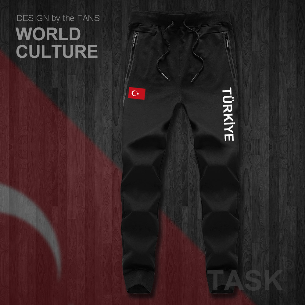 Turkey TUR Turkish Turk TR Mens Pants Joggers Jumpsuit Sweatpants Track Sweat Fitness Fleece Tactical Casual Nation Country NEW