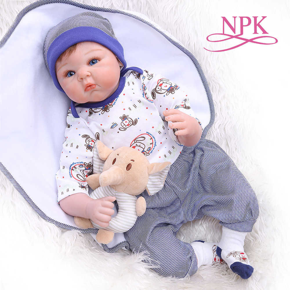 NPK 55CM newborn bebe realitic reborn baby doll  lifelike soft silicone real touch weighted body rooted hair