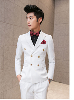 New/customize Leisure white double breasted suit fashionable dress ...