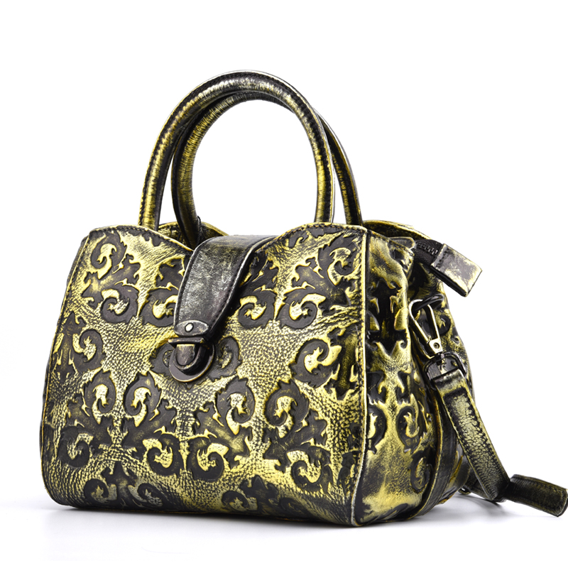 Graceful Embossing Designer Genuine Leather Vintage Women's Gold Yellow Purse Bag Small Handbag Ladies Crossbody Shoulder bag