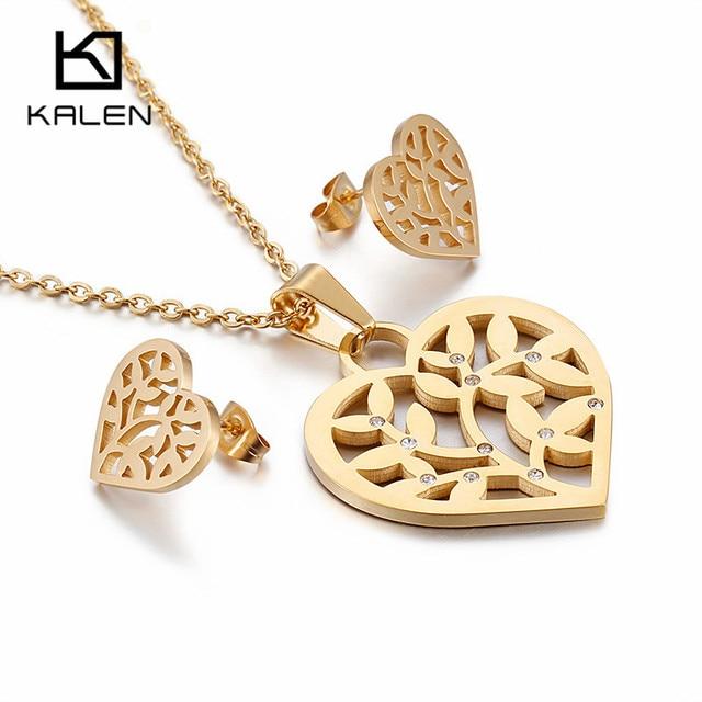 1241c41138 US $7.97 17% OFF|Kalen Fashion Dubai Gold Heart Jewelry Set Women's  Stainless Steel & Rhinstone Heart Pendant Necklace & Stud Earrings Sets  Gifts-in ...