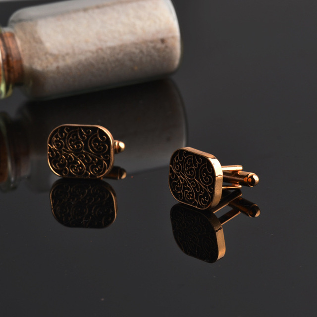 Elegant Golden Classic Carved Cufflinks