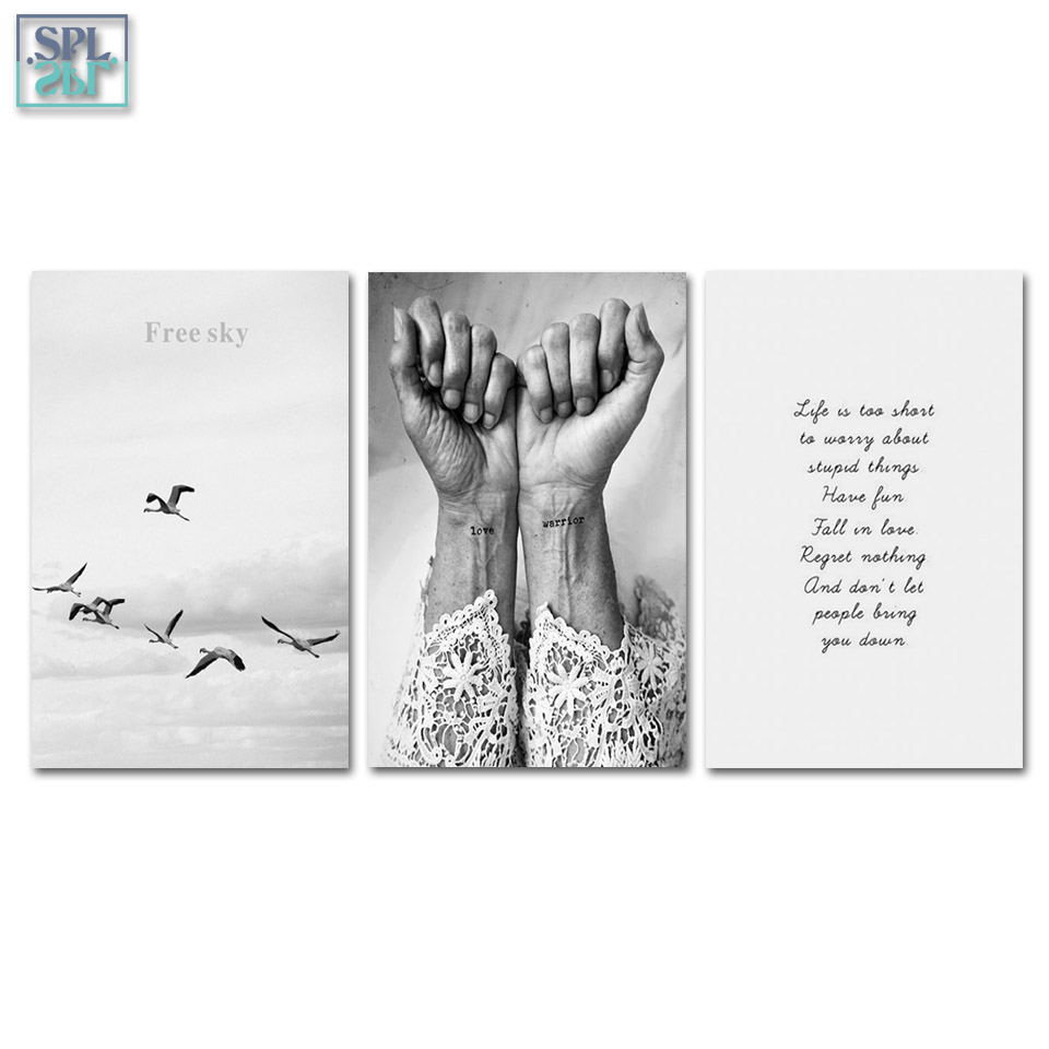 SPLSPL Nordic Poster Black And White Love Warrior Wall Art Canvas Print Painting Home Decor Picture for Living Room No Frame
