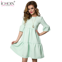 ICHOIX 2017 New Summer Style Women Elegant Loose Dress Lady Tunic Cute Solid Dresses O Neck