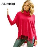 2018 heißer Verkauf Winter Frühling Frauen Mode-stil Pullover Quaste Poncho Übergroßen Rollkragen Fringe Saum Tunika Pullover DL27632