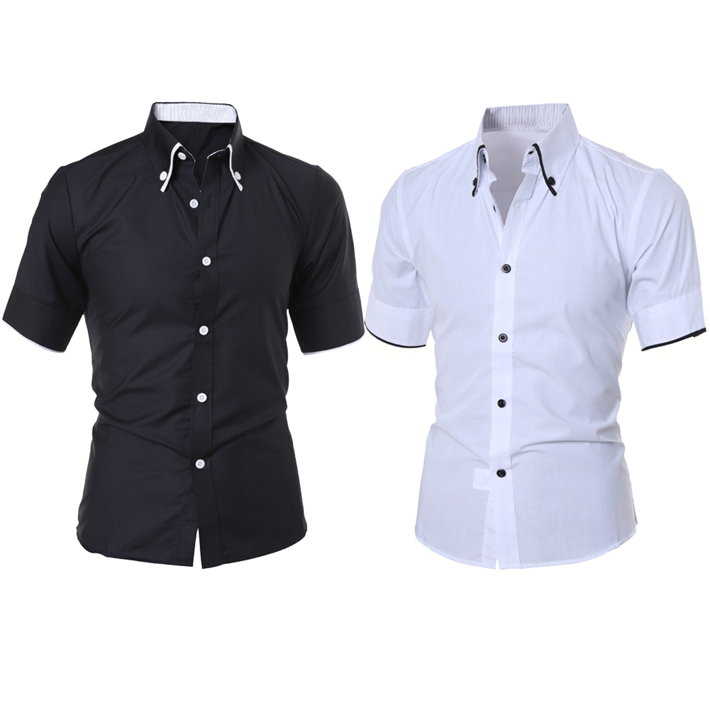 2018 New Fashion Mens Luxury Short Sleeve Square Collar Shirt Casual Slim Fit Stylish Dr ...