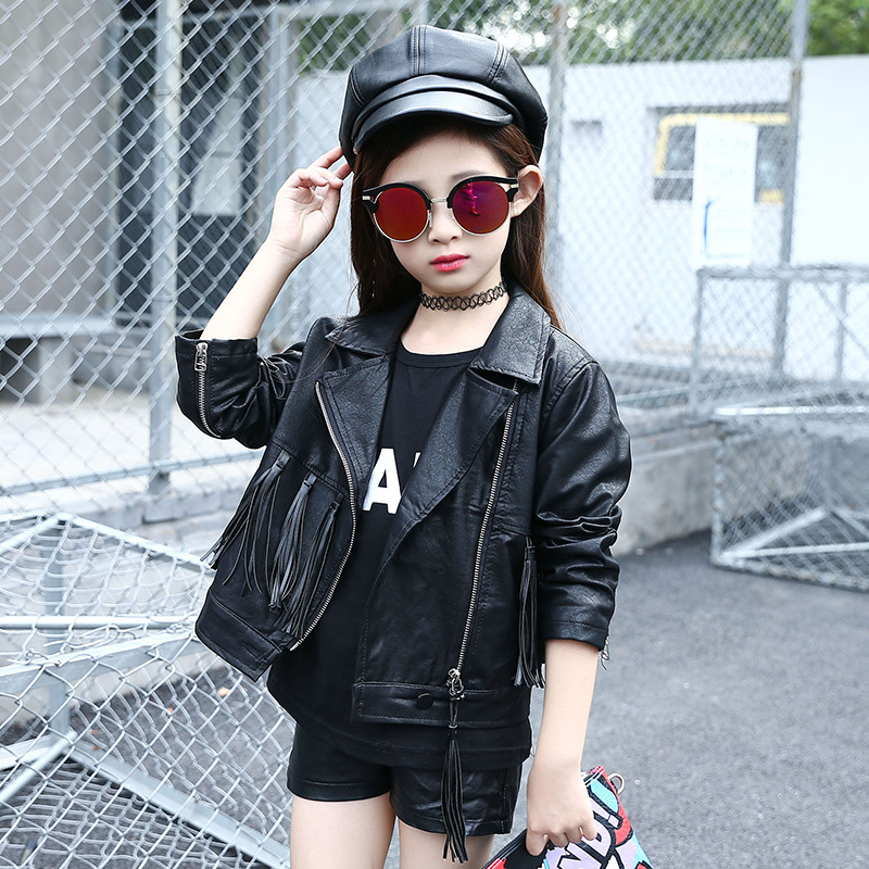 Hot Sale 6 12Years Old Girls Leather Coat New Winter Tassels Leather Jacket Children Solid Fashion
