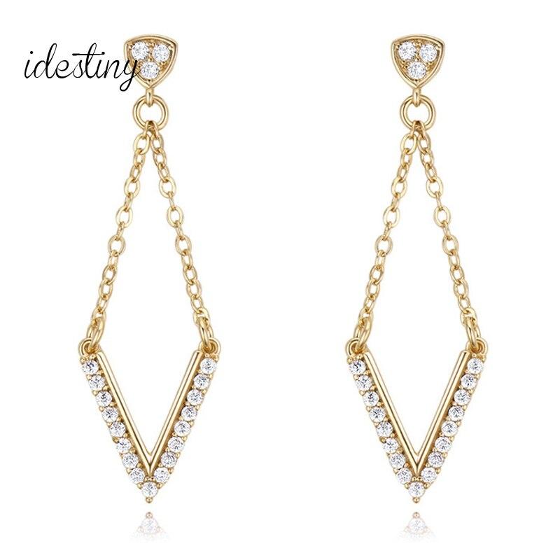 11.11 Sale Fashion Show Party Big Initial Design Drop Earring With AAA CZ Stone V Shape Dangle Earings For Women Wedding Jewelry