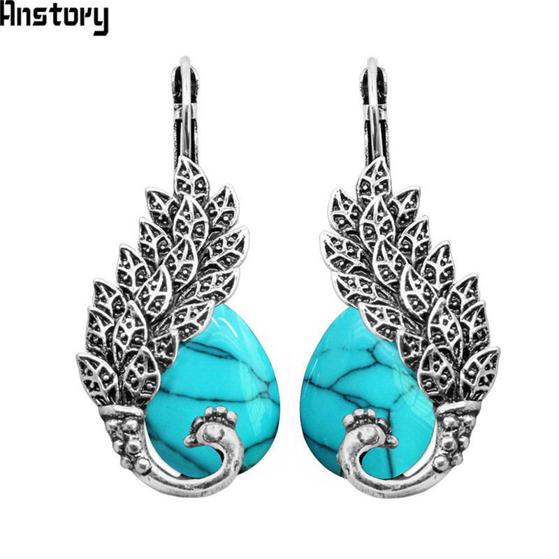 Drop Stone Peacock Cuff Earrings For Women Antique Silver Plated Vintage Look Fashion Jewelry TE64