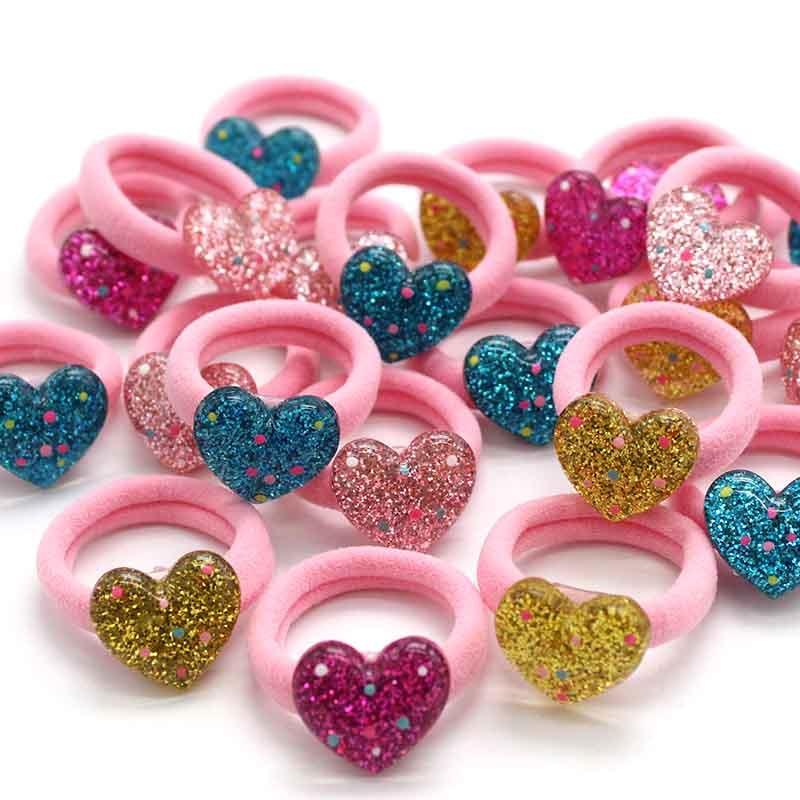 Chouchou Coeur élastique pour cheveux – 10 pièces