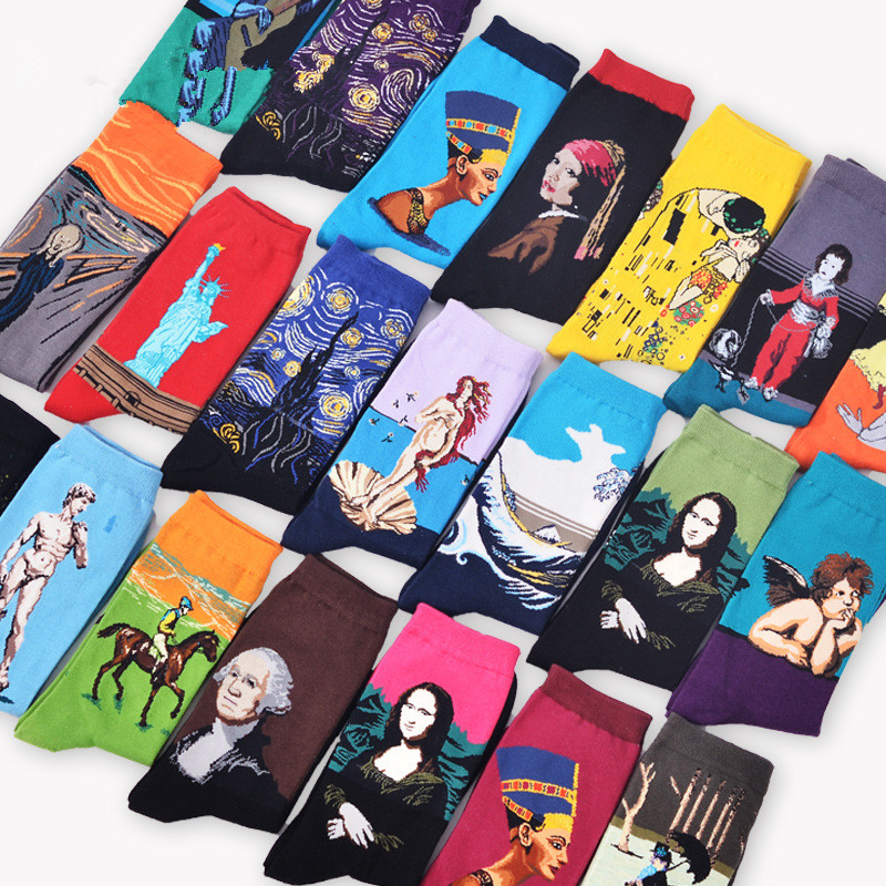 New Autumn Winter Fashion Retro New Abstract Oil Painting Art Socks Men /Women Novelty Patterned Harajuku Design Van Gogh Socks power knee stabilizer pads lazada