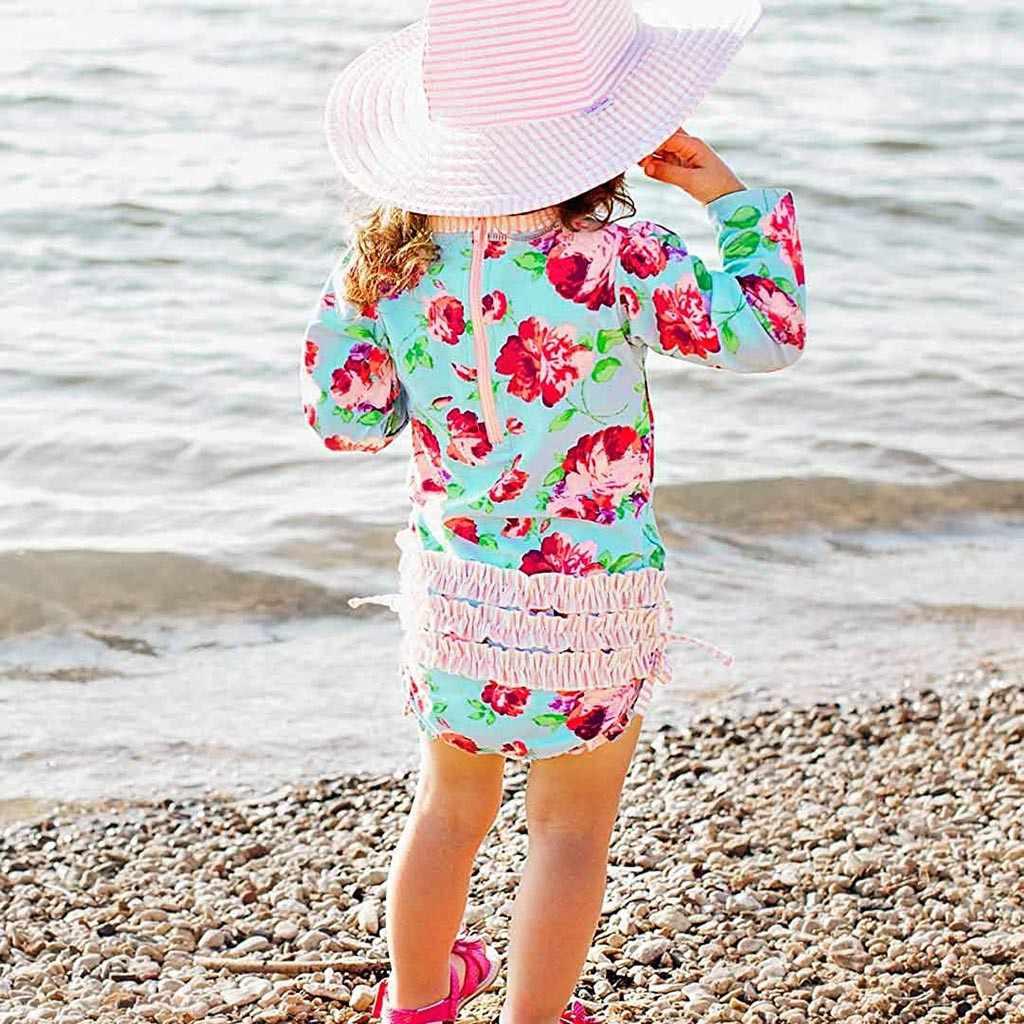 Anak-anak Gadis Lengan Panjang Pantai Bikini Bunga Cetak One Piece Swimsuit
