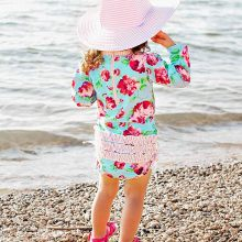 Children Kids Girls Long Sleeve Bikini Beach Flower Print One Piece Swimsuit(China)