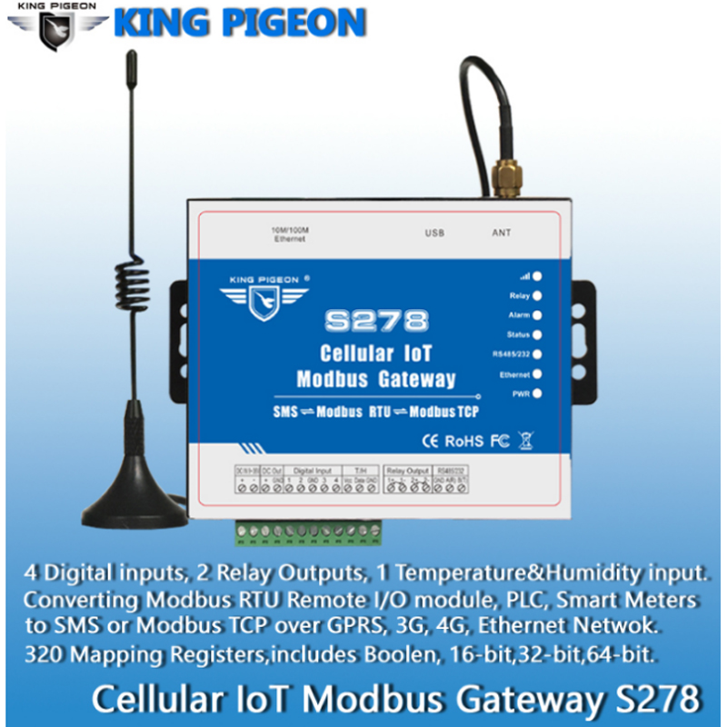 все цены на free shippingCellular IoT Modbus Gateway Industrial IOT Module GSM 3G 4G Data Acquisition for Agriculture Environment Monitoring