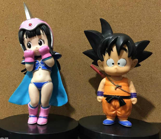 2 pçs/lote 16 cm pvc figura anime Japonês Dragon ball Son Goku Chichi infância ver action figure collectible modelo brinquedos