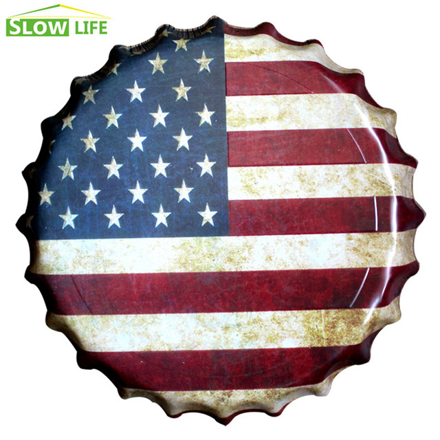 Aliexpress.com : Buy 35cm The USA Flag Beer Bottle Cap Metal Tin ...