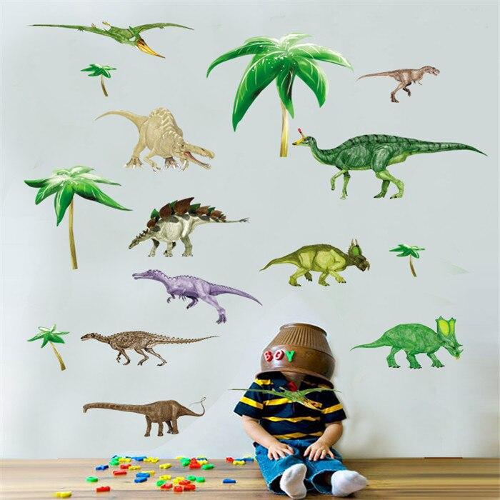 dinosaurio de la historieta animal mundo pegatinas de vinilo de pared para nios boy decoracin