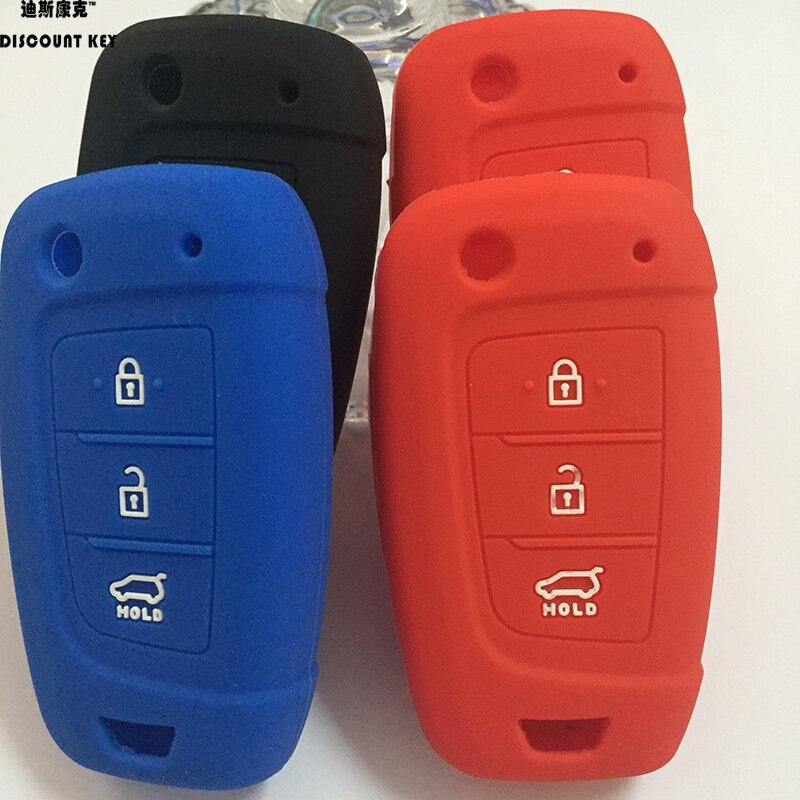 Silicone Rubber Flip Key Fob Cover Car Remote Holder case for Hyundai Elantra Solaris 2017