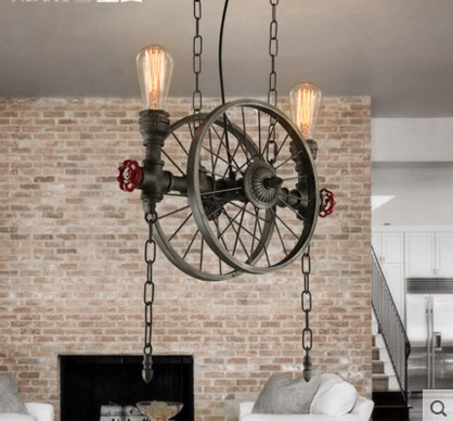 America Retro Loft Style Industrial Pendant Light Fixtures With 2 Edison Lights Vintage Pipe Lamp Hanglamp Wheel Shade new loft vintage pendant lights lamp with e27 edison bulbs light fixtures nordic retro industrial style pendant lighting 220v